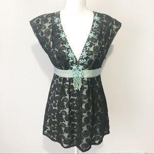 Nanette Lepore beaded lace floral sleeveless top
